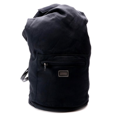 Burberry Black Nylon Roll Fold Backpack with Patent Leather Straps