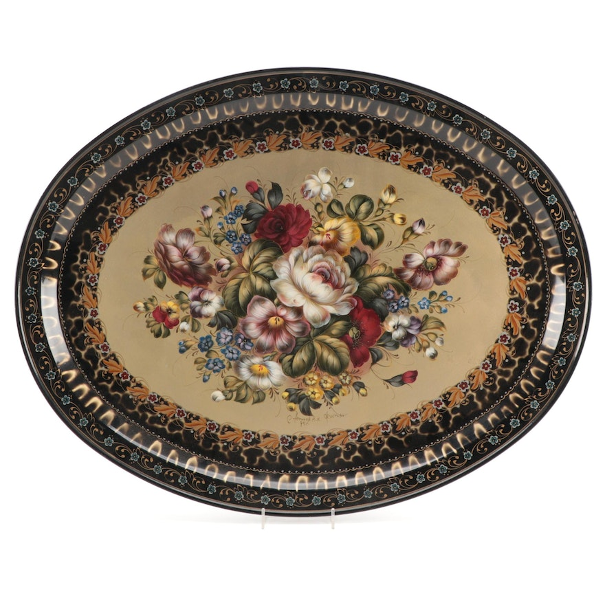Russian Lacquered and Bouquet-Decorated Tray