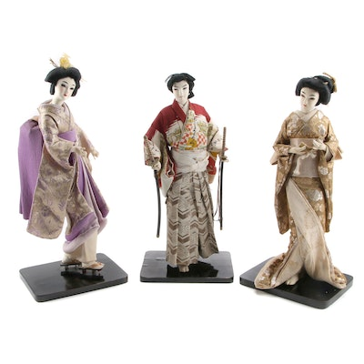 Japanese Cloth-Face Dolls Including Male Figure