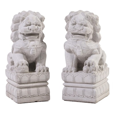 Pair of Chinese Guardian Lion Cast Concrete Outdoor Statues