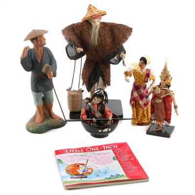 """Japanese, Thai, and Filipino Dolls and """"Little One Inch"""" Book"""