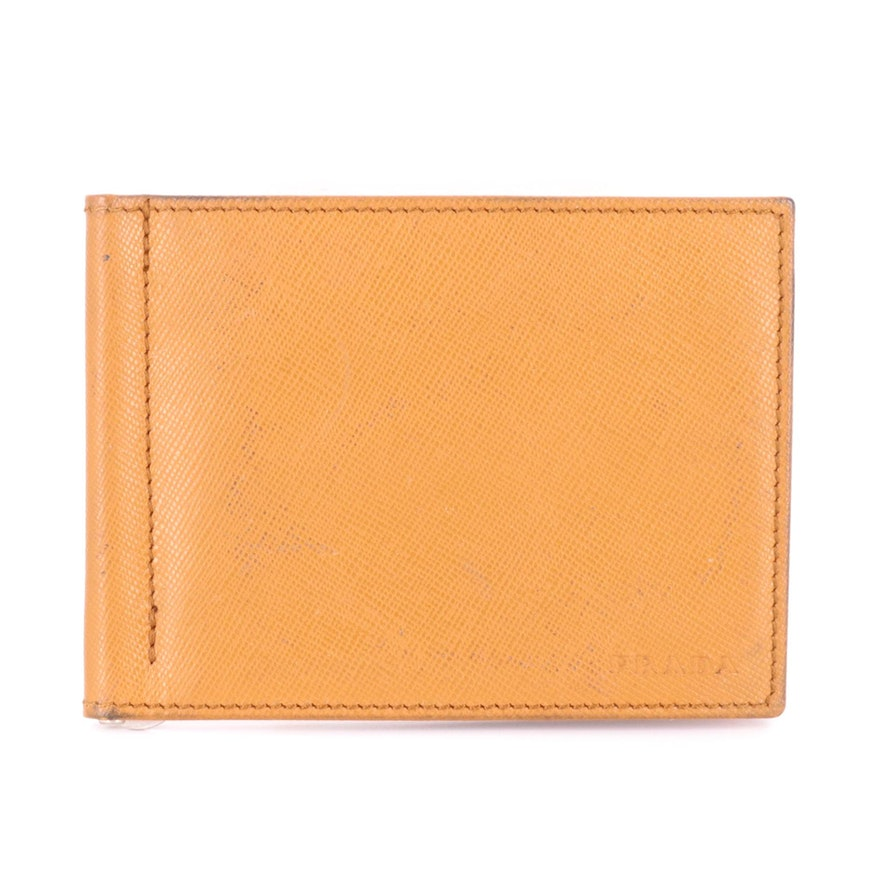 Prada Bifold Wallet with Money Clip in Saffiano Leather