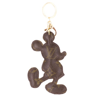 Keychain Featuring Mickey Mouse Style Charm in Louis Vuitton Monogram Canvas