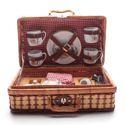 """Reutter Beatrix Potter """"Peter Rabbit"""" Porcelain Picnic Basket Tea Set"""