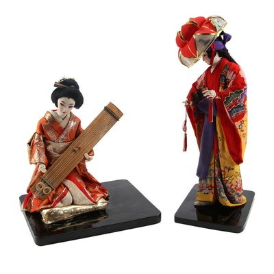 Japanese Okinawa Ryukyu Dancer and Koto Player Cloth-Face Dolls
