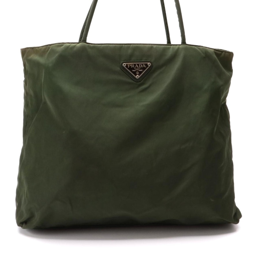 Prada Green Tessuto Nylon Tote Bag