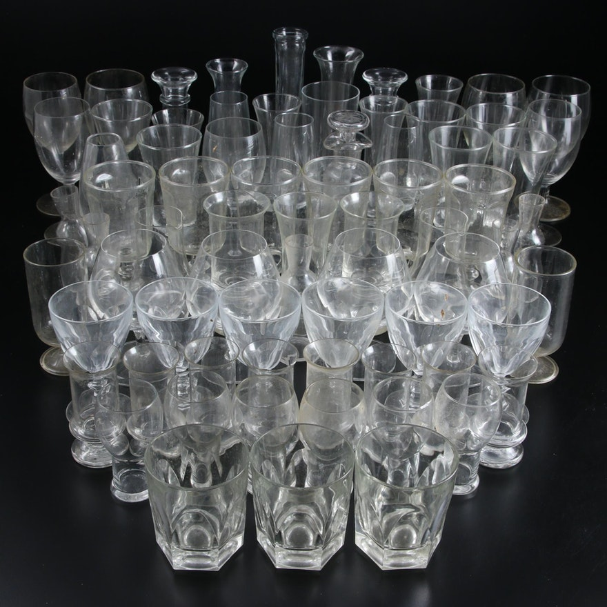Glass Vases and Drinkware, Mid to Late 20th Century