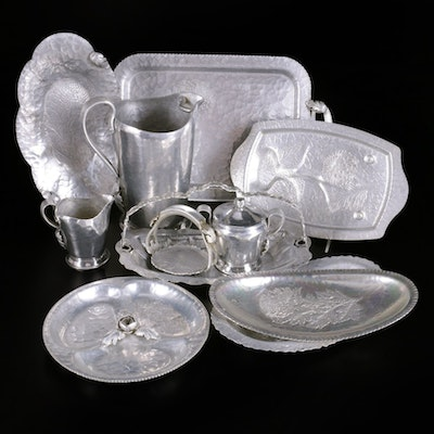 Hand Wrought Aluminum Trays and Other Tableware, Mid to Late 20th Century
