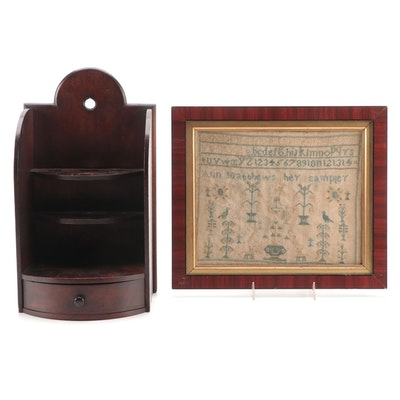 Ann Matthews Needlepoint Sampler with Mahogany Display Shelf