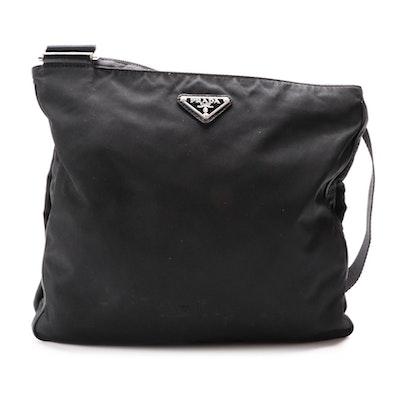 Prada Black Tessuto Nylon Crossbody with Saffiano Leather Trim
