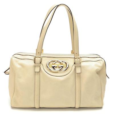 Gucci Britt Off-White Calfskin Leather Boston Bag