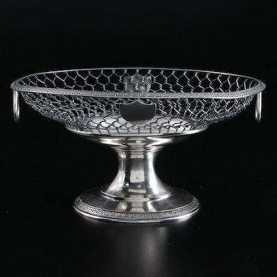 William Gale & Son Greek Key Bordered Sterling Silver Footed Fruit Basket