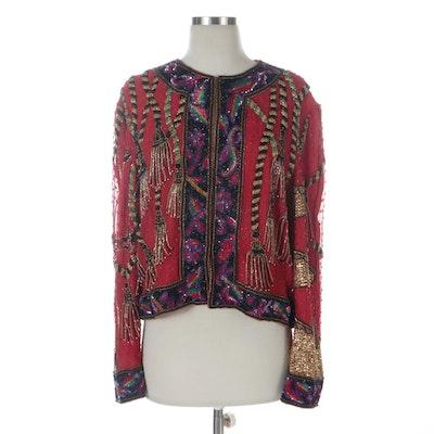 Niteline by Della Roufogali Embellished Silk Tassel Motif Evening Jacket