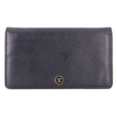 Chanel CC Button Yen Wallet in Black Grained Calfskin Leather