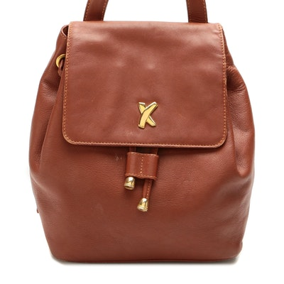Paloma Picasso Drawstring Backpack in Brown Leather