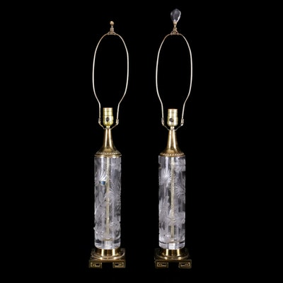Lausitzer Cut Crystal Table Lamps, Mid/Late 20th Century