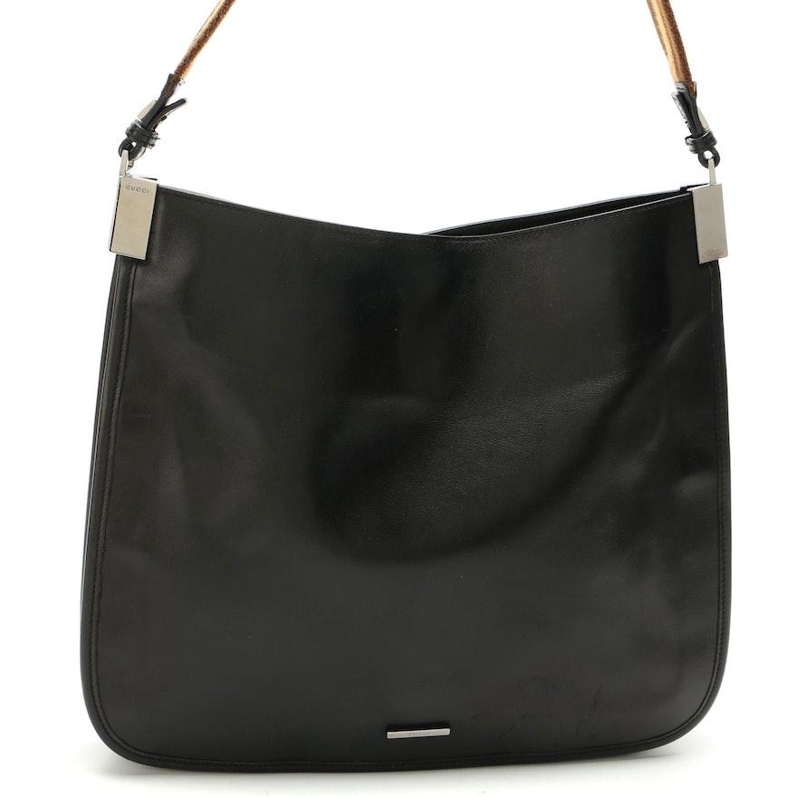 Gucci Black Leather and Web Strap Shoulder Bag