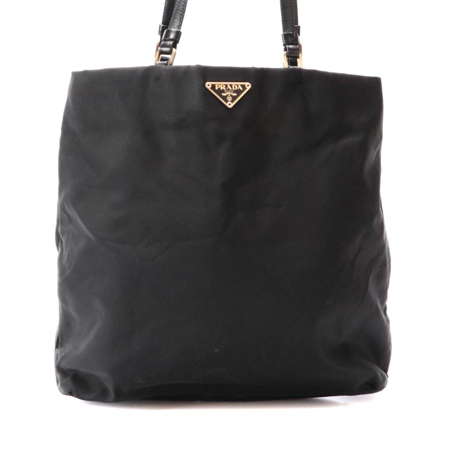 Prada Tessuto Shoulder Bag in Black Nylon with Leather Straps