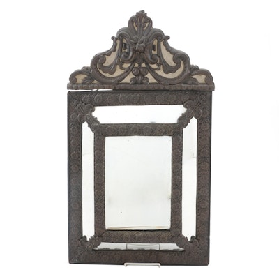 Dutch Baroque Style Embossed Brass Mounted Cushion Mirror, 19th Century