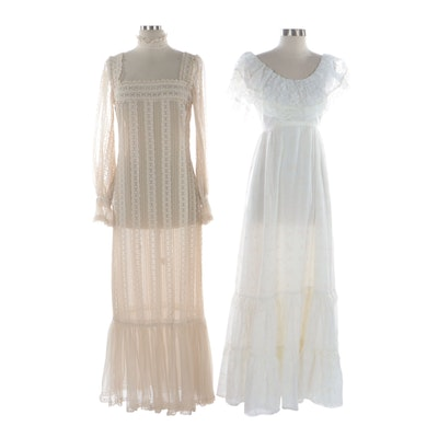 Elizabeth Arden Eyelet and Country Elegance Tiered Lace Maxi Dresses