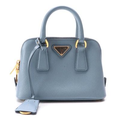 Prada Mini Promenade Two-Way in Blue Saffiano Leather
