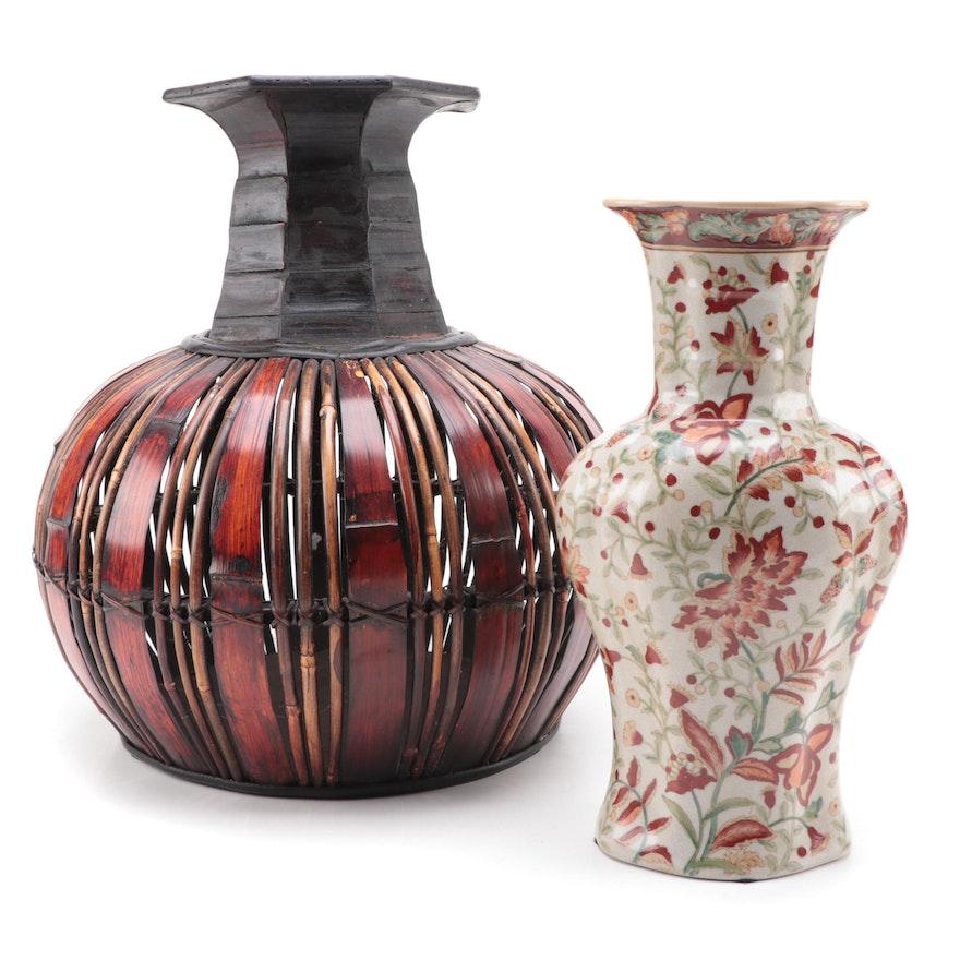 Chinese Crackle Glaze Porcelain Vase with Globular Wicker Vase