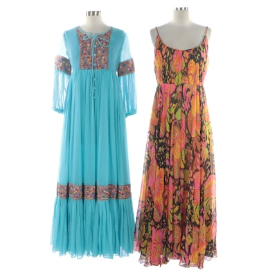Beverly Paige and Union Made Gathered Floral Maxi Dresses, 1970's
