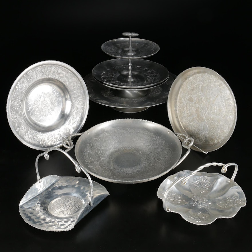 Wilson Hand Wrought Aluminum Trays and Other Tableware, Mid to Late 20th C.