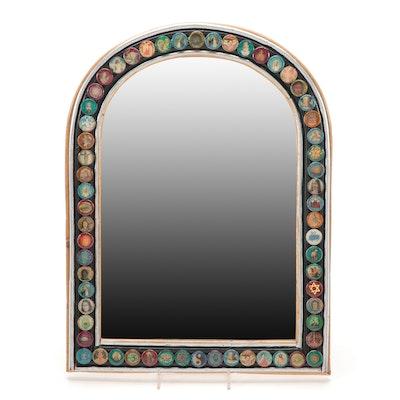 "Lynda McClanahan Folk Art ""Mirror with 60 Pennies"", Contemporary"