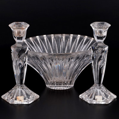 Fifth Avenue Crystal Candlesticks with Cut Crystal Bowl, Late 20th Century