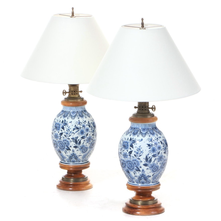 Pair of Blue and White Delft Faience Table Lamps, Mid-20th Century