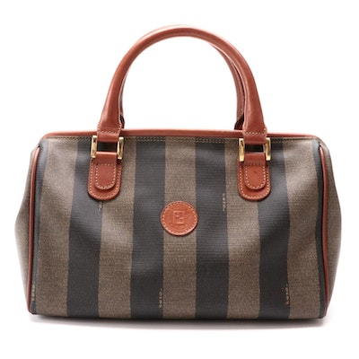 Fendi Two-Way Doctor's Bag in Pequin Stripe Coated Canvas with Leather Trim
