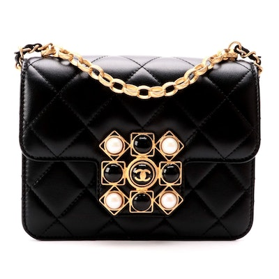 Chanel Onyx Pearl Mini Flap Bag in Black Quilted Calfskin Leather