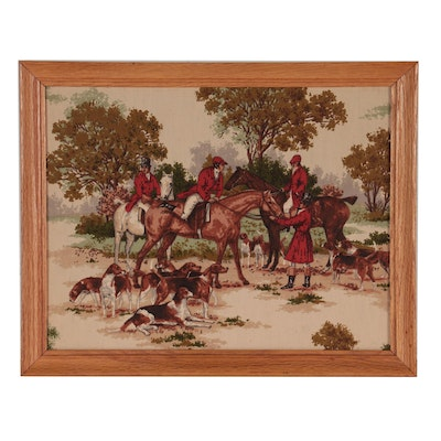 Handmade Printed and Quilted Textile Panel of a Hunting Scene