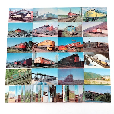 Postcards Featuring Trains and Locomotives, Mid to Late 20th Century