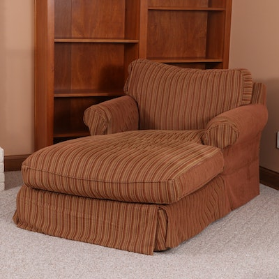 Arhaus Camden Collection Chaise Lounge with Striped Slipcover