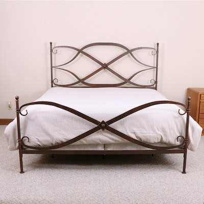 """Arhaus """"St. Lucia"""" Patinated Bronze Tone Iron King Bed with Coverlet"""