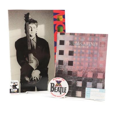 Paul McCartney 1989 World Tour Concert Program, Pin, Memorabilia