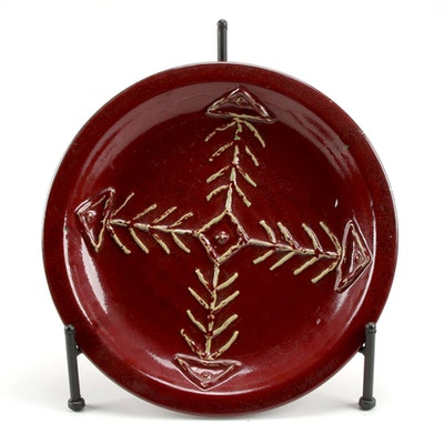 Decorative Maroon Glazed Stoneware Plate with Stand