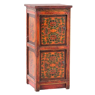 Sino-Tibetan Polychrome-Decorated and Parcel-Gilt Two-Door Cabinet