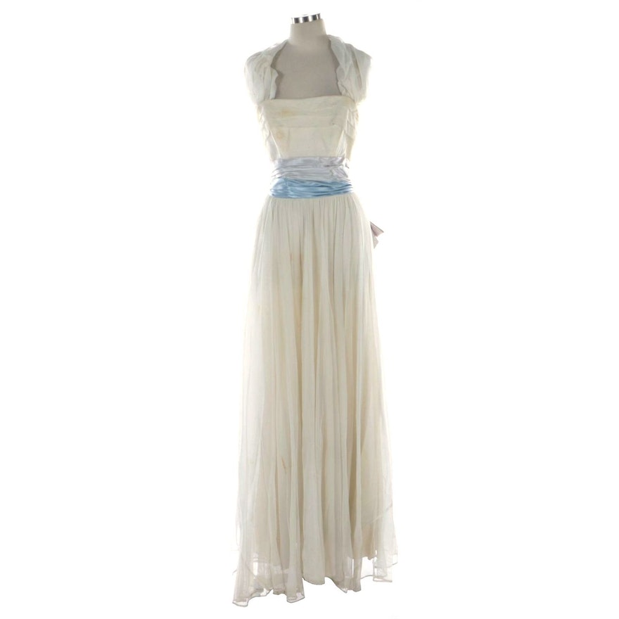 The Gidding Co. Gathered Tulle and Satin Gown, 1950s