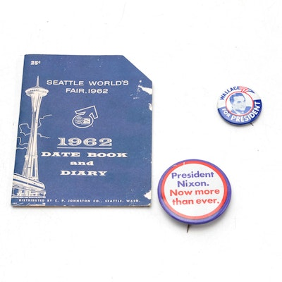 Nixon and Wallace Presidential Campaign Pinbacks with 1962 World's Fair Diary