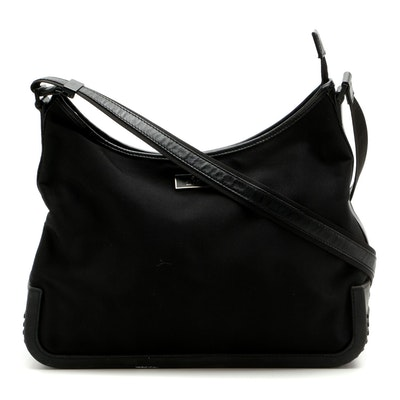 Gucci Black Nylon Hobo Bag with Leather Trim and Rubber Tread Bottom