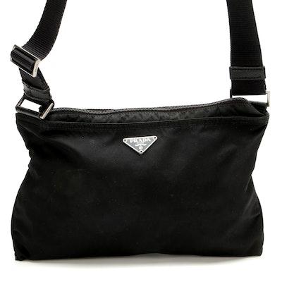 Prada Black Tessuto Nylon Crossbody with Leather Trim