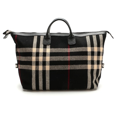 Burberry Black Check Wool and Leather Weekender Tote