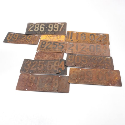 Pennsylvania Metal Automobile License Plates, 1920s