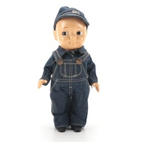 Buddy Lee Doll in Denim Overalls