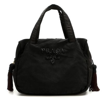 Prada Beaded Tassel Top Handle Bag in Black Tessuto Nylon
