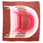Christian Dior D Patterned Scarf in Brown and Pink