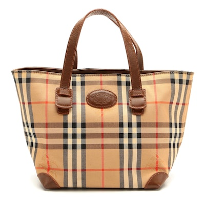 """Burberrys """"Haymarket Check"""" and Brown Leather Tote"""